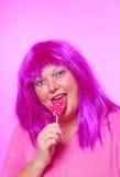 Señora bastante rosada del lollipop Foto de archivo
