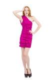Señora bonita en el vestido rosado aislado en blanco Fotos de archivo libres de regalías