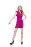 Señora bonita en el vestido rosado aislado en blanco Imágenes de archivo libres de regalías