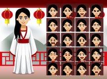 Señora china Cartoon Emotion del vestido de período hace frente al ejemplo del vector Foto de archivo
