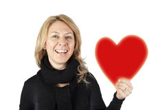 Señora con el corazón Imagen de archivo