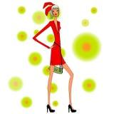 Señora en vestido rojo Foto de archivo libre de regalías