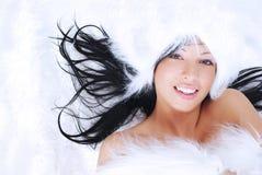 Señora hermosa en piel Fotografía de archivo