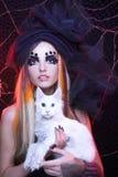 Señora joven con el gato. Imágenes de archivo libres de regalías