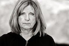 Señora mayor triste Fotografía de archivo