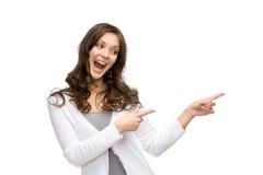 Señora que señala gesto de mano Imagenes de archivo