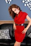 Señora In Red Dress Imagenes de archivo
