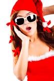 Señora sorprendida Santa Foto de archivo libre de regalías