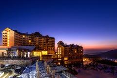 SEORAKSAN, KOREA - FEBRUARY 7: Resort is located near Seoraksan National Park in winter. stock image