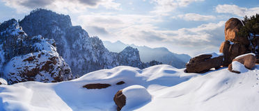 Seoraksan mountains in winter,Famous mountain in South Korea Royalty Free Stock Photo