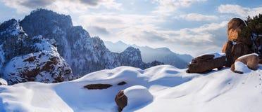 Seoraksanbergen in de winter, Beroemde berg in Zuid-Korea royalty-vrije stock foto