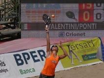 """Señoras 2016 del †del campeonato del mundo del tenis de la playa de ITF las """"doblan final Imagenes de archivo"""