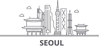 Seoul architecture line skyline illustration. Linear vector cityscape with famous landmarks, city sights, design icons. Editable strokes royalty free illustration