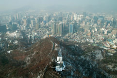 Seoul Business District View from Seoul Tower Royalty Free Stock Image