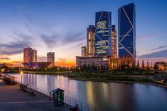 Seoul city with Beautiful after sunset, Central park in Songdo I. Nternational Business District, Incheon South Korea Stock Photo