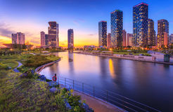 Seoul city with Beautiful after sunset, Central park in Songdo Royalty Free Stock Photos