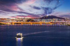 Seoul city and Bridge, Beautiful night of Korea with Seoul Tower Stock Image