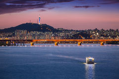 Seoul city and bridge and Han river Royalty Free Stock Images