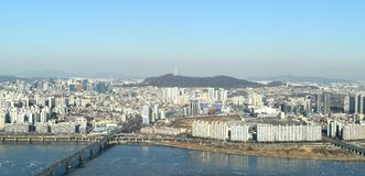 Seoul city from 63 building South korea Royalty Free Stock Photo
