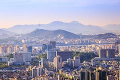 Seoul city and Downtown skyline in aerial, South Korea Stock Photo