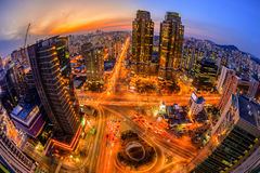 Seoul City and Downtown skyline in Seoul, South Korea. Royalty Free Stock Photos