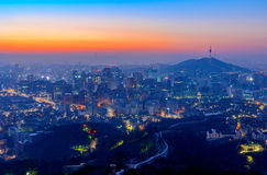 Seoul City and Downtown skyline in Seoul, South Korea. Stock Image