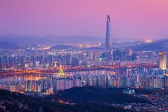 Seoul city and downtown skyline and skyscraper at night, The best view of South Korea with Lotte world mall, South Korea. royalty free stock images