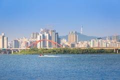 Seoul city and Han river, n seoul tower, South Korea. stock image