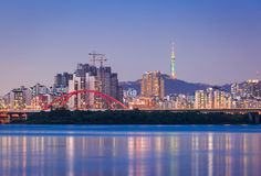 Seoul city, Han river with n seoul tower stock images