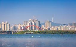 Seoul city at Han river, n seoul tower, South Korea. stock images