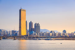 Seoul City and Han River, South Korea. Royalty Free Stock Photo