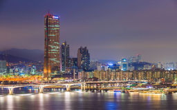 Seoul City and Han River at Yeouido Stock Photos