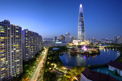 Seoul city, Korea. Lotte Tower, the tallest building in Seoul, South Korea at the blue hour Royalty Free Stock Image