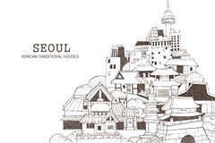 Seoul city and Korean architecture stock illustration