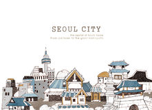 Seoul city and Korean architecture Stock Image