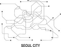 Seoul  City map. Seoul subway map available in vector file format Stock Image
