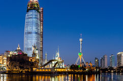 Seoul City at Night.A frozen river reflection  Royalty Free Stock Image