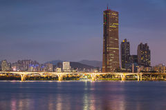 Seoul City at Night and Han River, South Korea. Royalty Free Stock Images