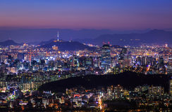 Seoul City at Night with Seoul Tower. South Korea stock image