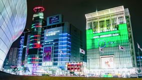 Seoul City Night Shopping Area Timelapse stock video footage