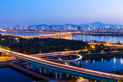 Seoul city at night Stock Image