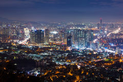 Seoul city at night , South Korea. Seoul city in Misty day at night , South Korea Stock Photo