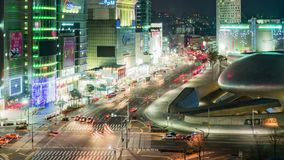 Seoul City Night Traffic Timelapse stock video footage