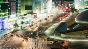 Seoul City Night Traffic Timelapse stock footage