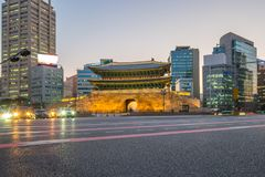 Seoul city at night with view of Namdaemun gate in Seoul city, S Royalty Free Stock Images