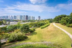 Seoul city and the park, city tower building in Seoul, South Kor royalty free stock images