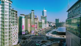 Seoul City Shopping Area Timelapse stock footage
