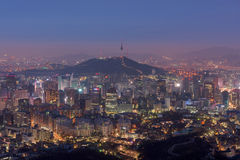 Seoul City Skyline, The best view of South Korea at Night. Royalty Free Stock Photography