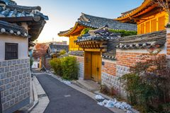 Seoul city skyline with Bukchon Hanok village in South Korea
