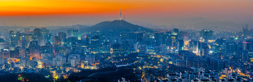 Seoul City Skyline and N Seoul Tower in Seoul, South Korea. Royalty Free Stock Photo